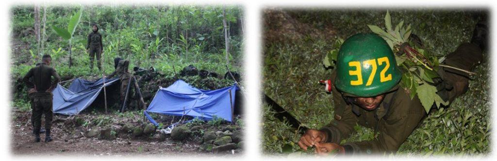 Pendirian Bivak tempat istirahat (kiri) dan Penyamaran Camen (Calon Resimen) untuk pelaksanaan caraka malam (kanan)
