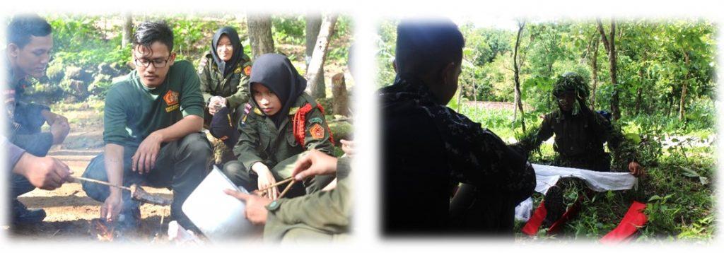 Pelaksanaan survival (kiri) dan caraka siang (kanan)
